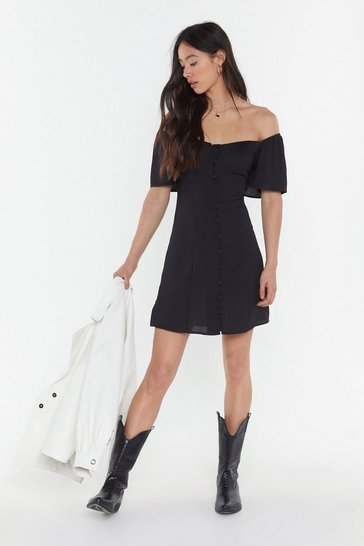 Womens Black I Was Lost Button-Down Mini Dress
