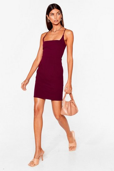Plum Red Mini Dress with Square Neckline