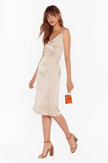 Womens Champagne The Night We Met Satin Midi Dress