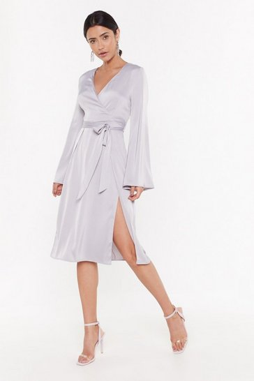 Womens Silver Call in Slick Satin Midi Dress