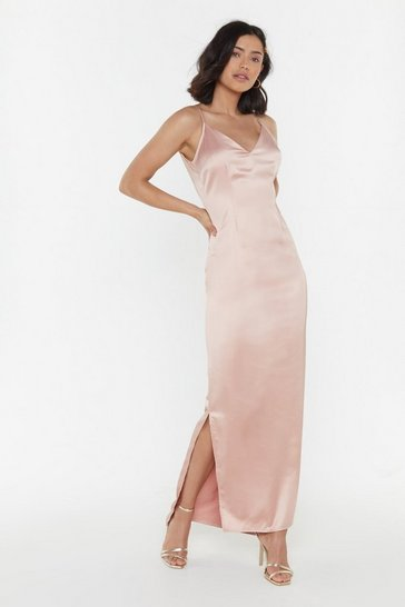 Womens Soft pink Top Table Material Satin Maxi Dress