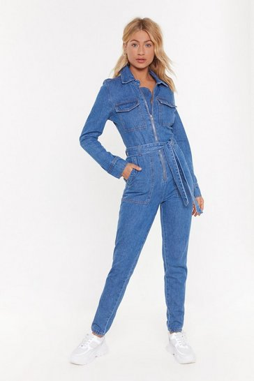 Womens Light blue Get a Zip Denim Boilersuit