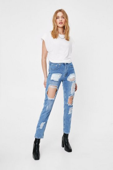 Womens Light blue I Got Trouble Distressed Mom Jeans