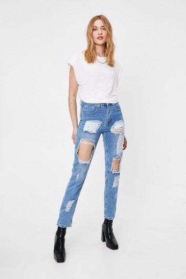 Light blue I Got Trouble Distressed Mom Jeans
