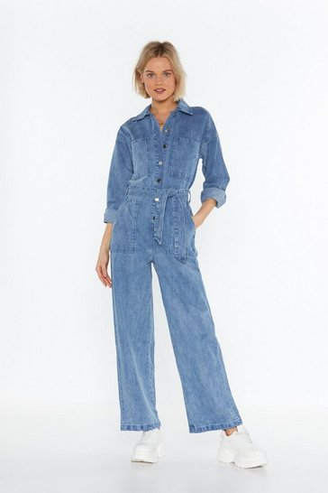 Womens Blue Jump in Denim Wide-Leg Jumpsuit
