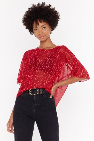 Womens Red Mesh Your Heart Floral Crop Top