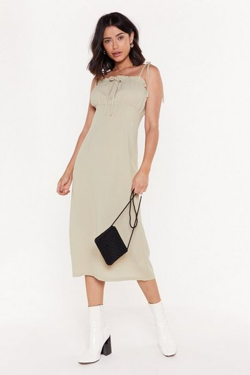 Womens Sage Waitin' On a Sunny Day Tie Midi Dress