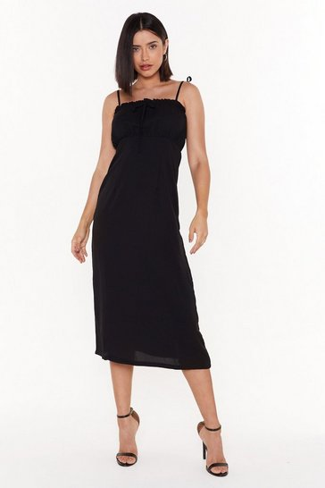 Womens Black Waitin' On a Sunny Day Tie Midi Dress