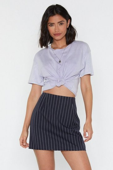 Womens Navy Just My Pinstripe Mini Skirt