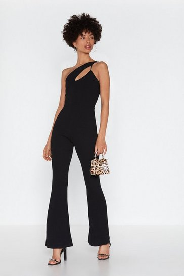 Womens Black The Ins and Cut-Outs One Shoulder Jumpsuit