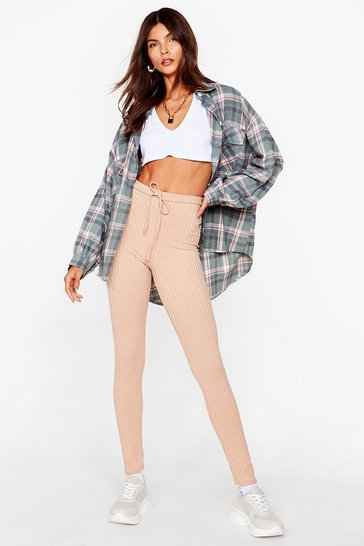 Stone Tie Waist Ribbed High Waisted Leggings