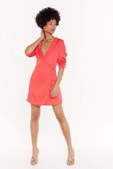 Womens Coral The Power of Me Satin Blazer Dress