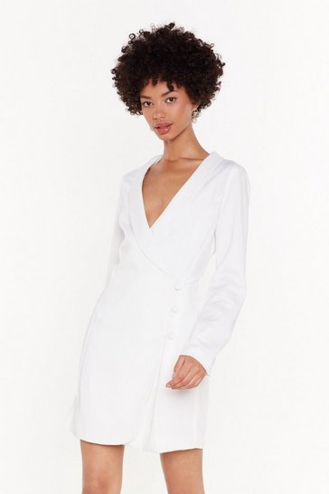 Womens White The Power of Me Satin Blazer Dress