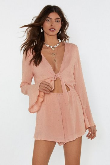 Womens Peach Tie Babe Relaxed Textured Romper