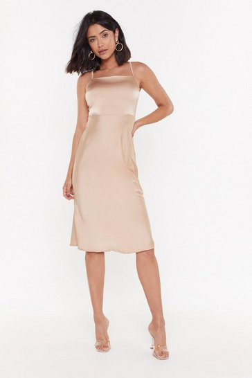 Womens Champagne Satin Your Dreams Midi Dress