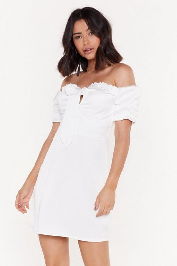 Womens Ivory Make Bow Mistake About It Off-the-Shoulder Mini Dress