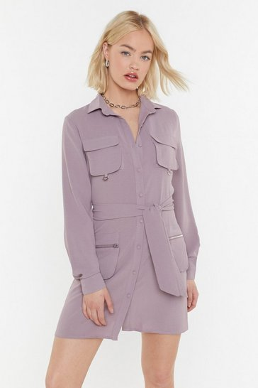 Womens Lavender Pocket in the Diary Utility Mini Dress