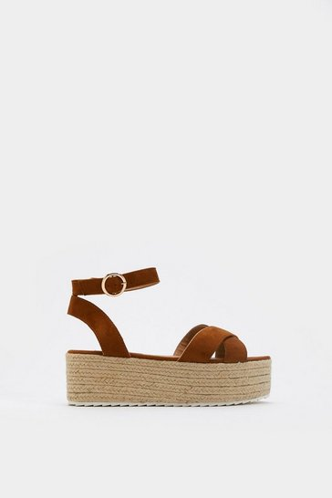 Womens Tan Oh Toe You Don't Faux Suede Espadrille Sandals