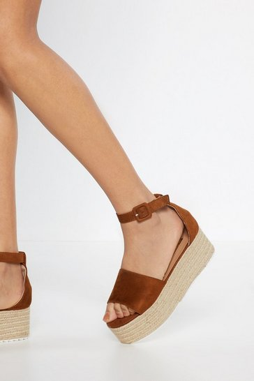 Womens Tan Immi Suede Ankle Buckle Flatform Sandals