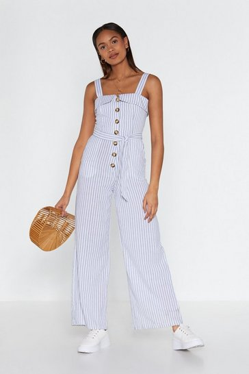 Womens White My Stripe of Vacay Wide-Leg Jumpsuit