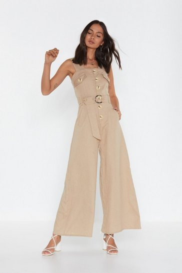 Womens Beige It's Going Button-Down Linen Wide-Leg Jumpsuit