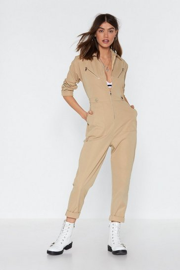 Womens Beige Ready to Work It Zip Boilersuit