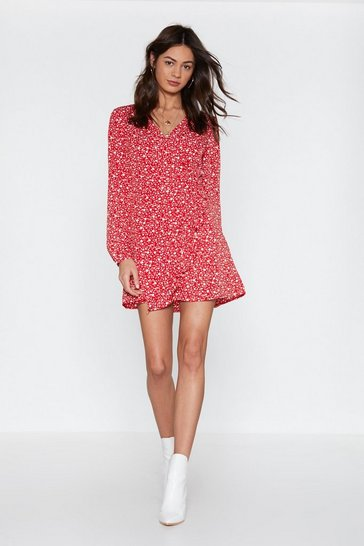 Womens Red Flower Bomb Floral Romper