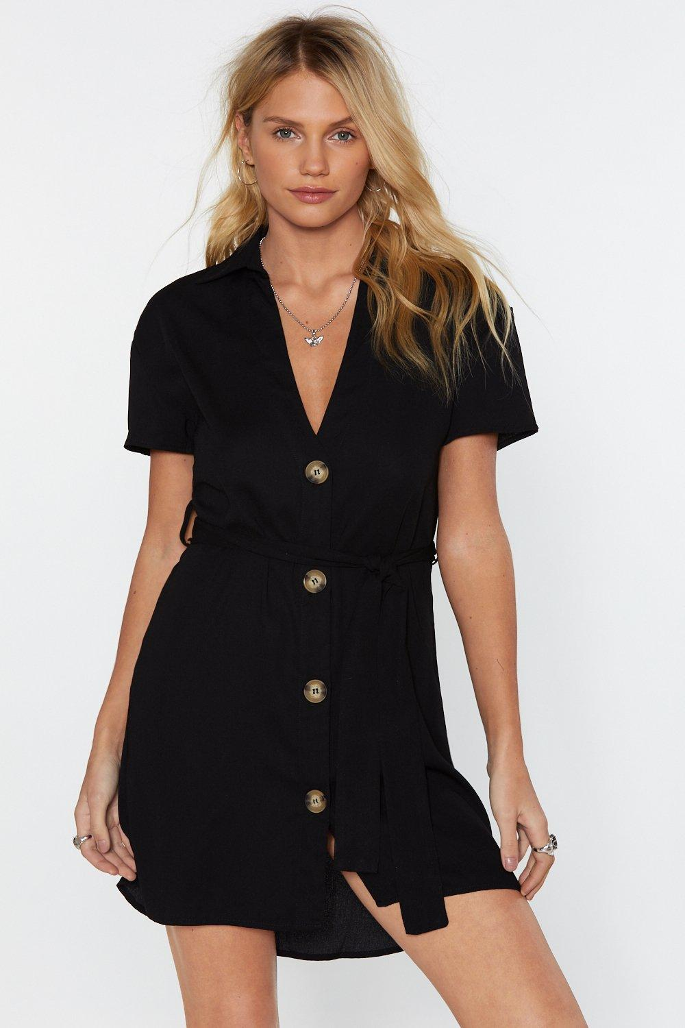 Button The Watch Mini Dress by Nasty Gal