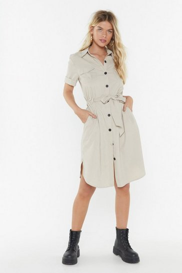 Womens Beige Utility Make My Day Shirt Midi Dress