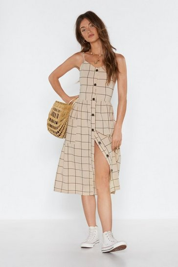 Womens Beige Check That One Off Button Midi Dress