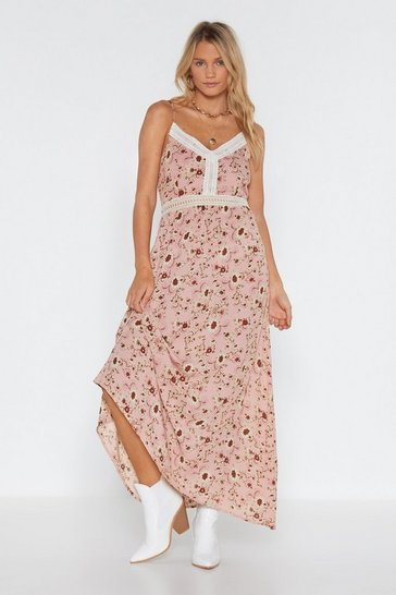Womens Pink Floral to Ceiling Crochet Maxi Dress