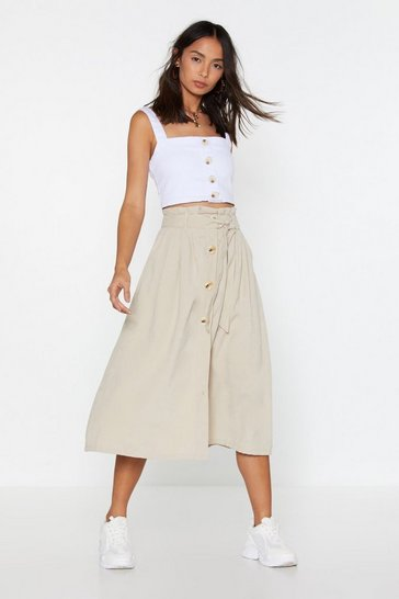 Womens Beige Sugar We're Going Button-Down Midi Skirt