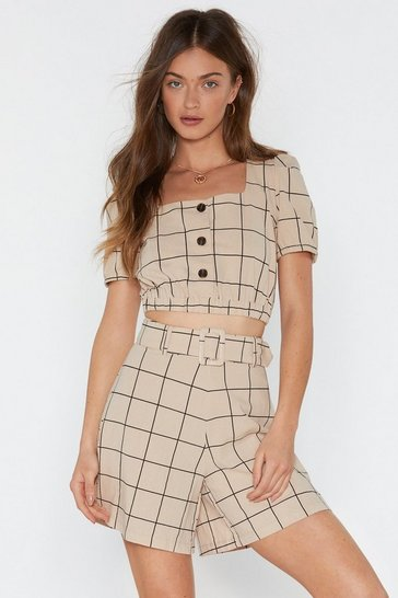Womens Beige Check Print Button Front Crop