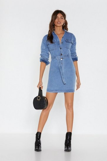Womens Mid blue Lay Button-Down the Law Denim Shirt Dress