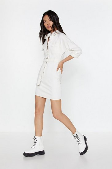 Womens White Lay Button-Down the Law Denim Shirt Dress