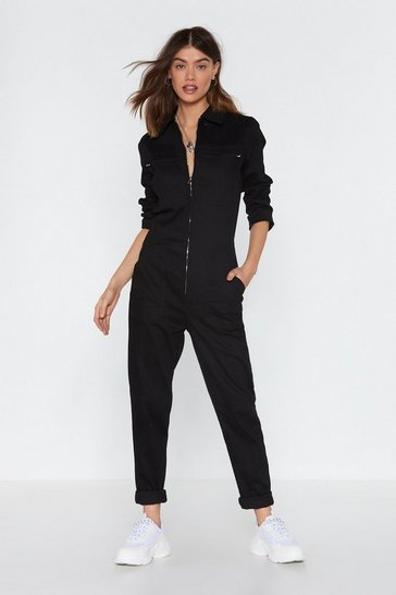 Black All Boils Down to You Zip Denim Boilersuit