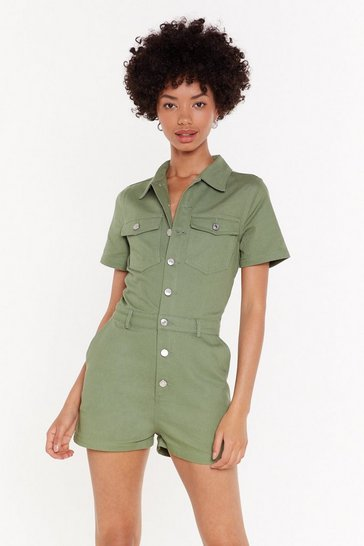 Womens Khaki Bow Button-Down Denim Romper