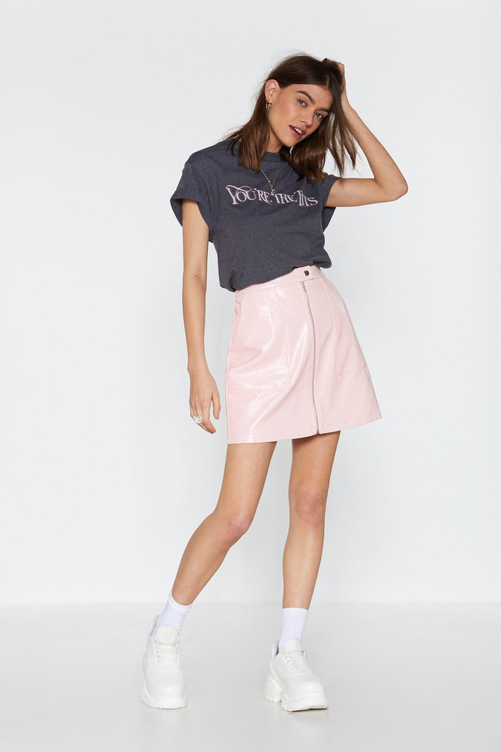 In Brief Zip Patent Skirt by Nasty Gal
