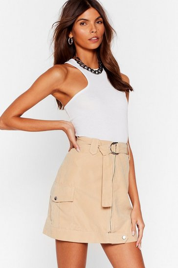 Beige Pocket Your Way Utility Skirt