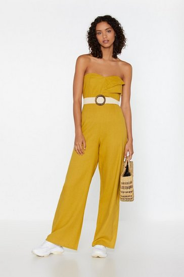 Yellow See Me in the Bandeau Linen Jumpsuit