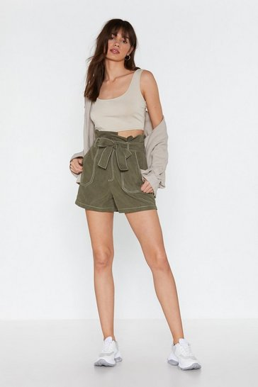 Womens Khaki I Told You Sew Stitch Paperbag Shorts