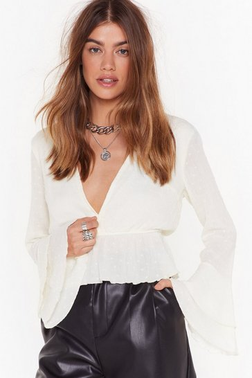 Womens White Plunge Forward Cropped Blouse