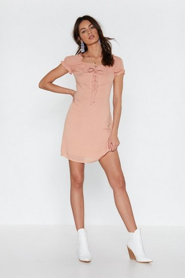 Womens Peach I'm Hot Puff Lace-Up Mini Dress