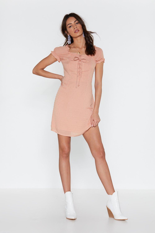 I'm Hot Puff Lace Up Mini Dress by Nasty Gal