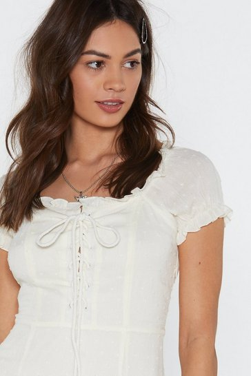 Womens White Puff Sleeve Lace Up Dobby Lined Mini Dress