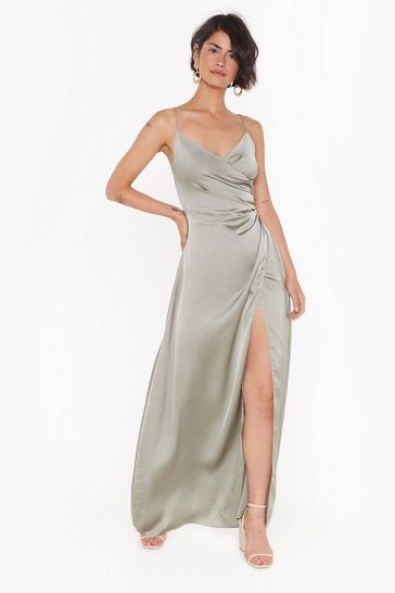 Womens Sage Right Bride Your Side Satin Maxi Dress