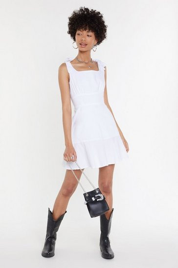 Womens White Tie Shoulder Flippy Mini Dress