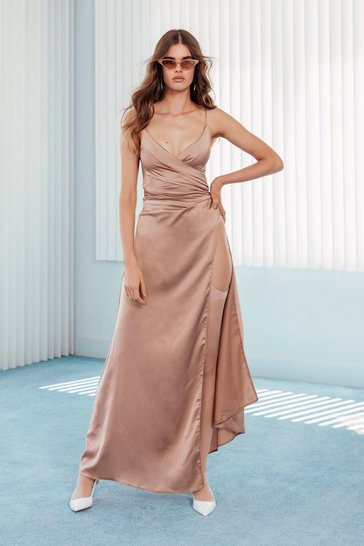 Womens Nude Right Bride Your Side Satin Maxi Dress