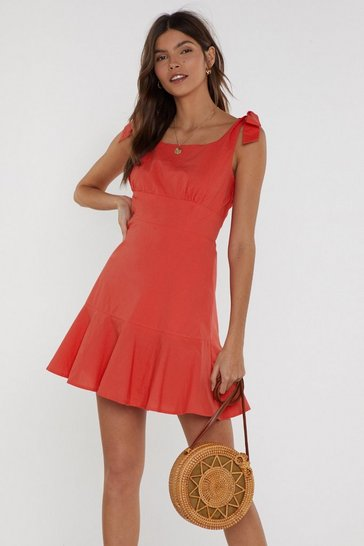 Womens Red Raise Your Glass Tie Mini Dress
