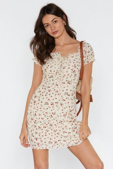 Womens Cream Tongue-Tied Floral Lace-Up Dress